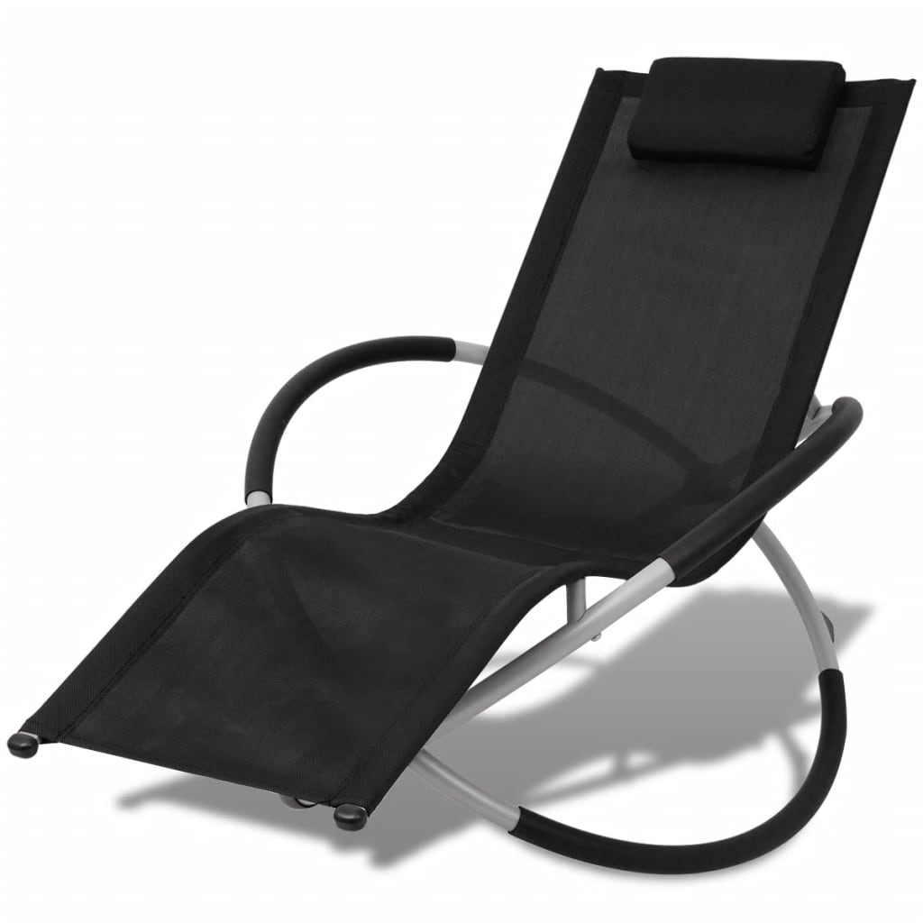 Outdoor Geometrical Sun Lounger Steel Black and Grey 1