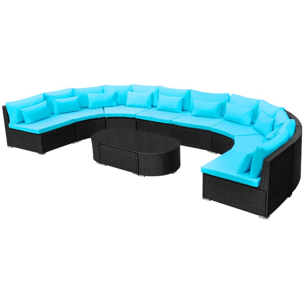 11 Piece Garden Lounge Set with Cushions Poly Rattan Blue 2