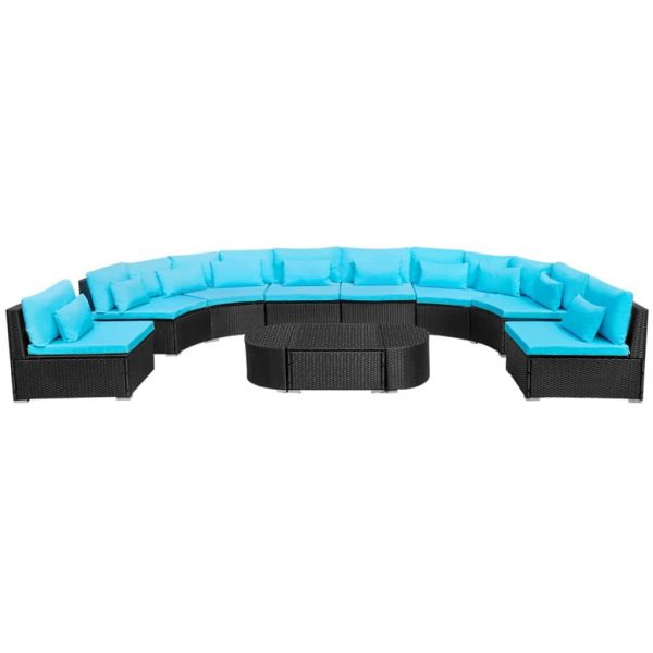 11 Piece Garden Lounge Set with Cushions Poly Rattan Blue 3