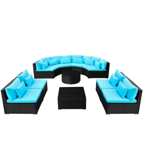 11 Piece Garden Lounge Set with Cushions Poly Rattan Blue 4