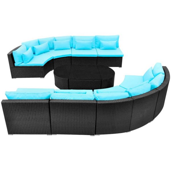 11 Piece Garden Lounge Set with Cushions Poly Rattan Blue 6