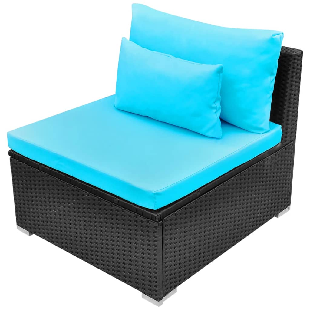 11 Piece Garden Lounge Set with Cushions Poly Rattan Blue 7