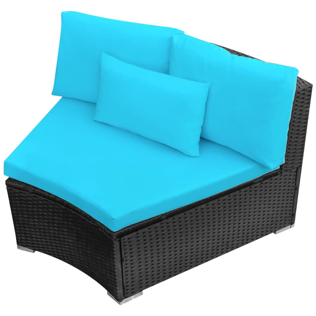 11 Piece Garden Lounge Set with Cushions Poly Rattan Blue 8