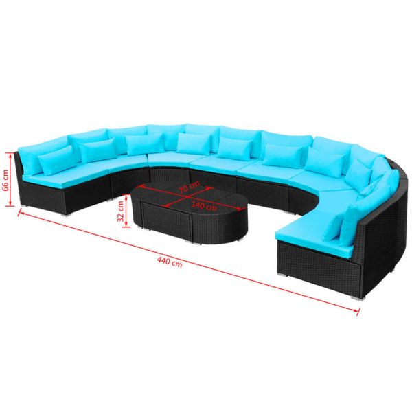 11 Piece Garden Lounge Set with Cushions Poly Rattan Blue 10