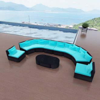 11 Piece Garden Lounge Set with Cushions Poly Rattan Blue 1
