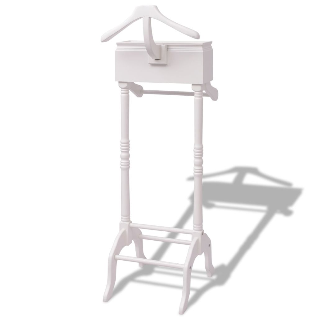 Clothing Rack with Cabinet Wood White 2