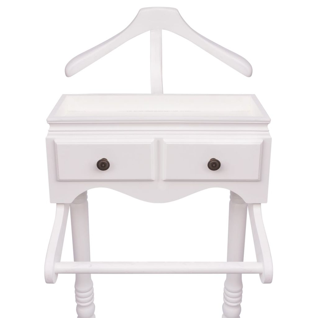 Clothing Rack with Cabinet Wood White 3