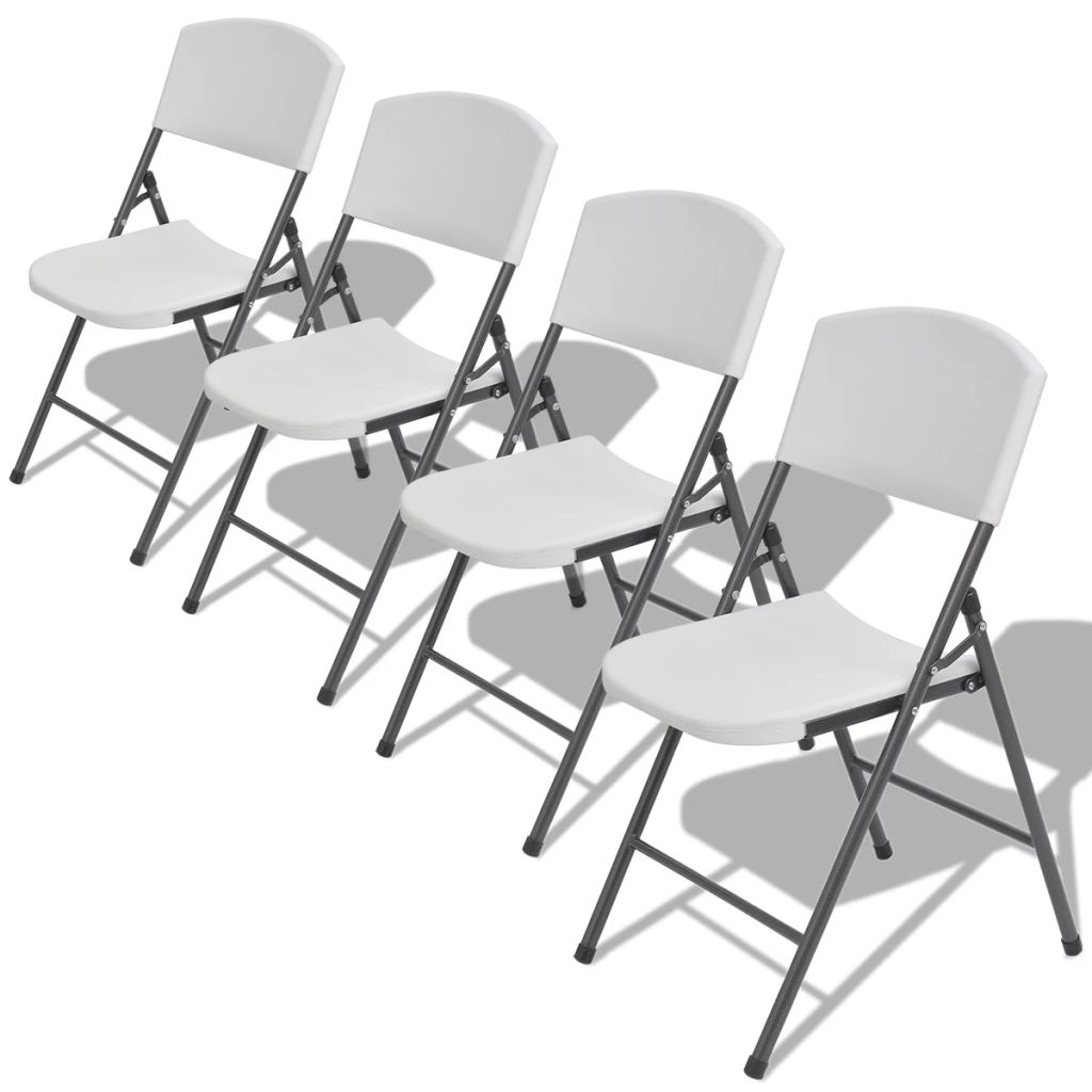 Folding Garden Chairs 4 pcs Steel and HDPE White 1