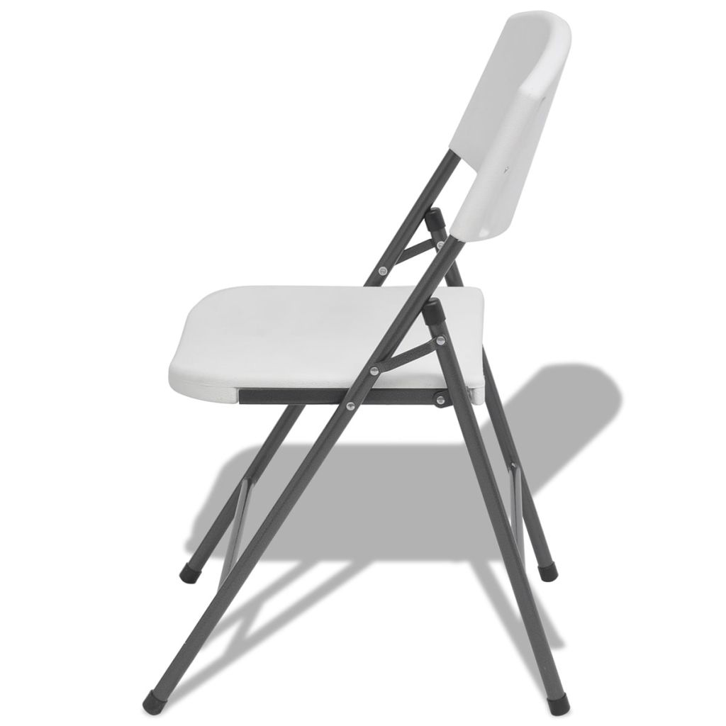 Folding Garden Chairs 4 pcs Steel and HDPE White 4