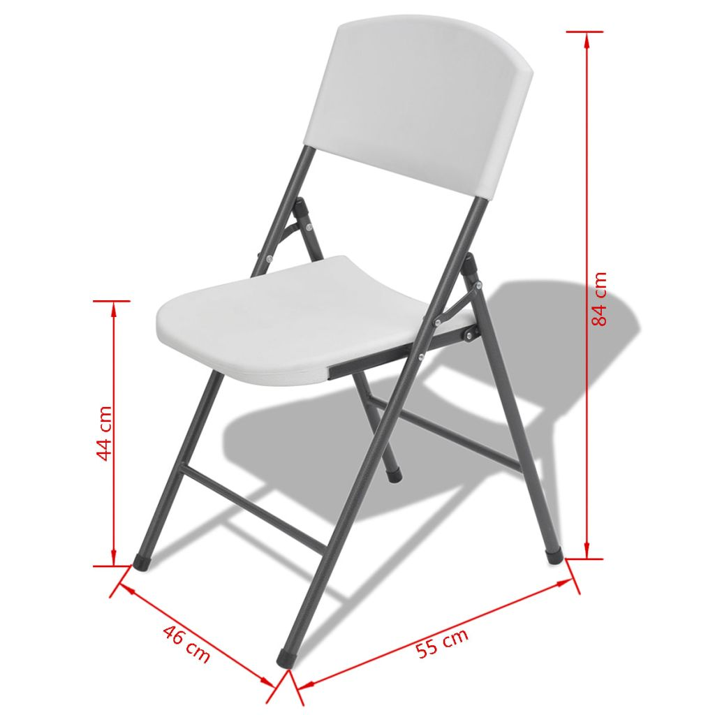 Folding Garden Chairs 4 pcs Steel and HDPE White 7