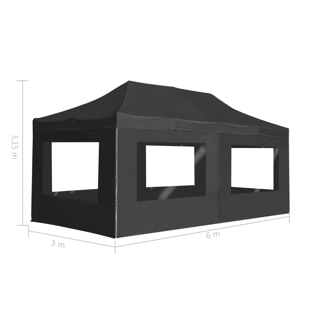 Professional Folding Party Tent with Walls Aluminium 6×3 m Anthracite 11