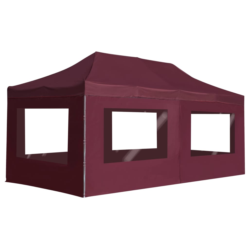 Professional Folding Party Tent with Walls Aluminium 6x3 m Wine Red