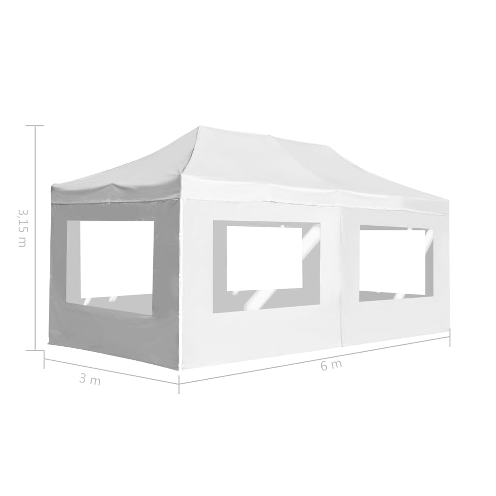 Professional Folding Party Tent with Walls Aluminium 6×3 m White 11