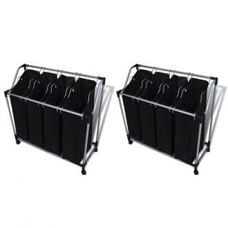 Laundry Sorters with Bags 2 pcs Black and Grey 1