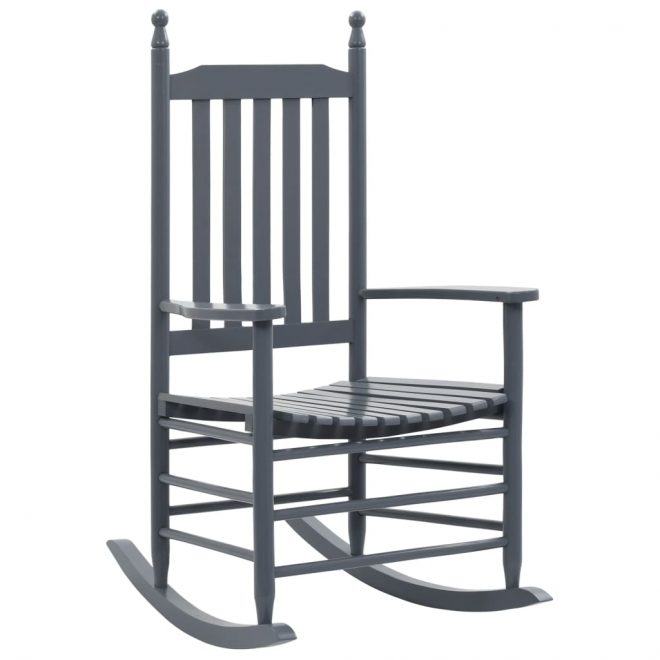 Rocking Chair with Curved Seat Grey Wood 1