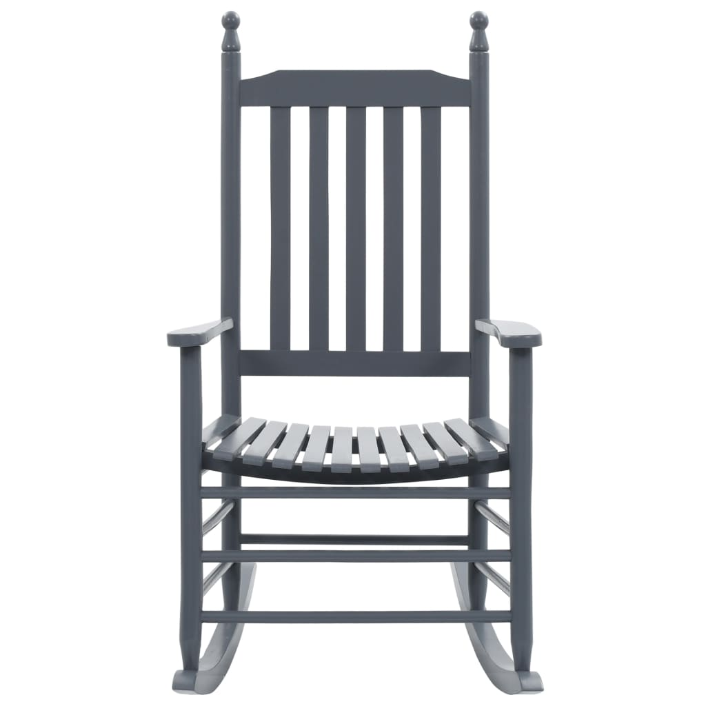 Rocking Chair with Curved Seat Grey Wood 2