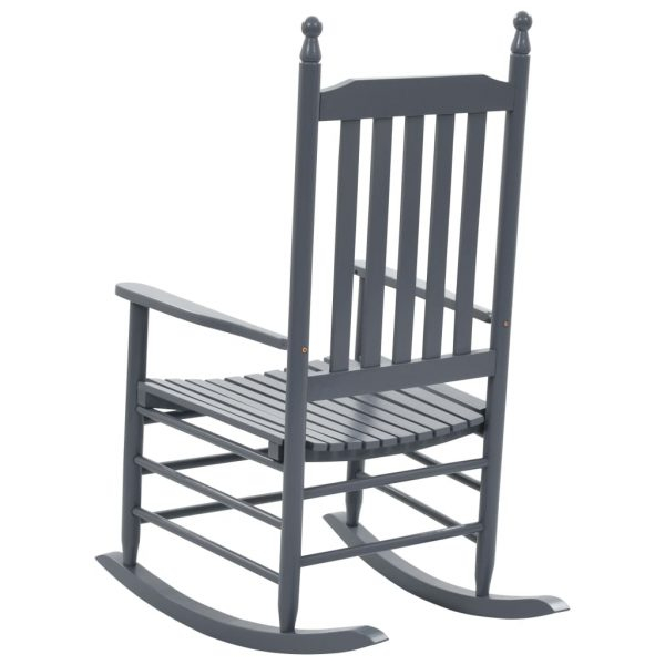 Rocking Chair with Curved Seat Grey Wood 4