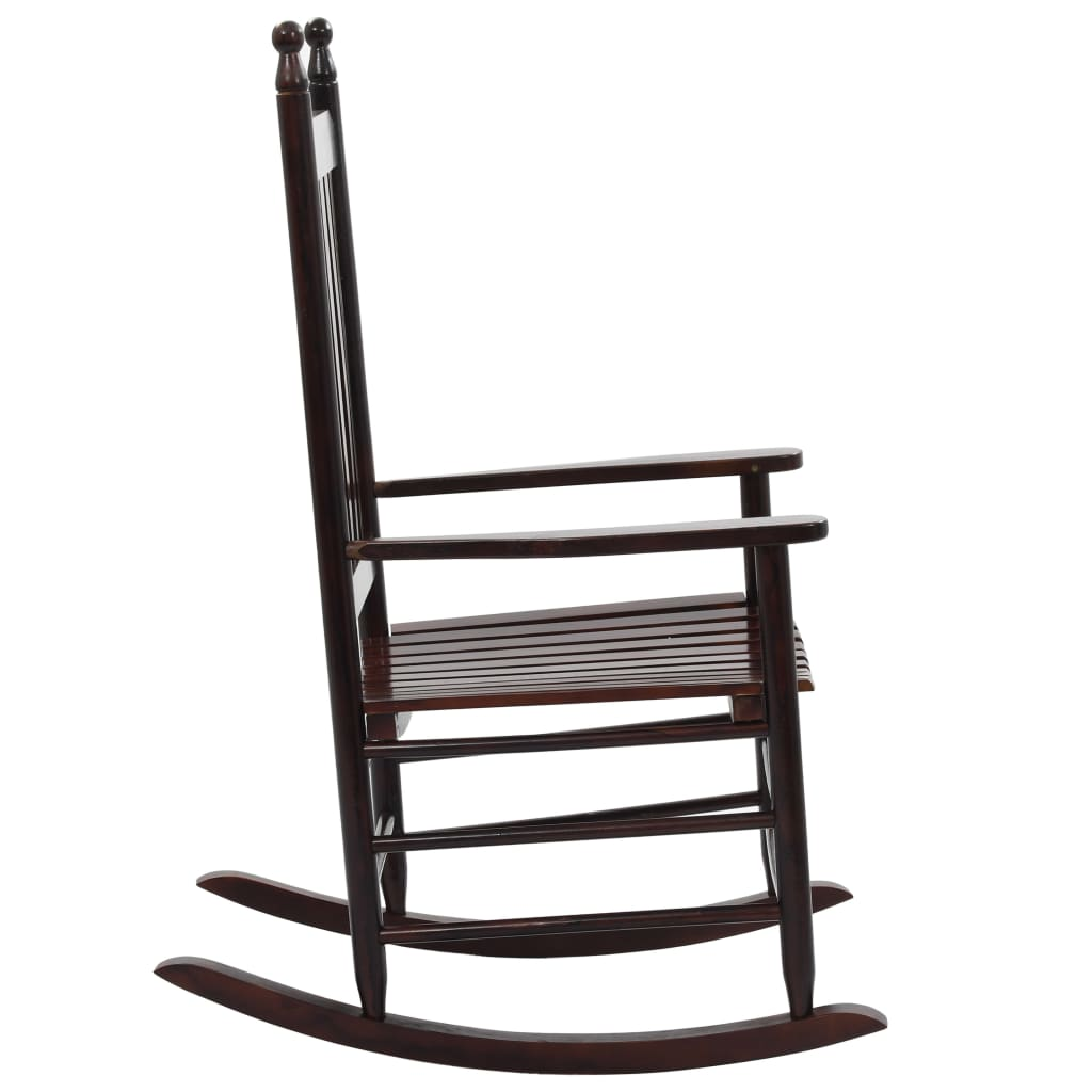 Rocking Chair with Curved Seat Brown Wood 3