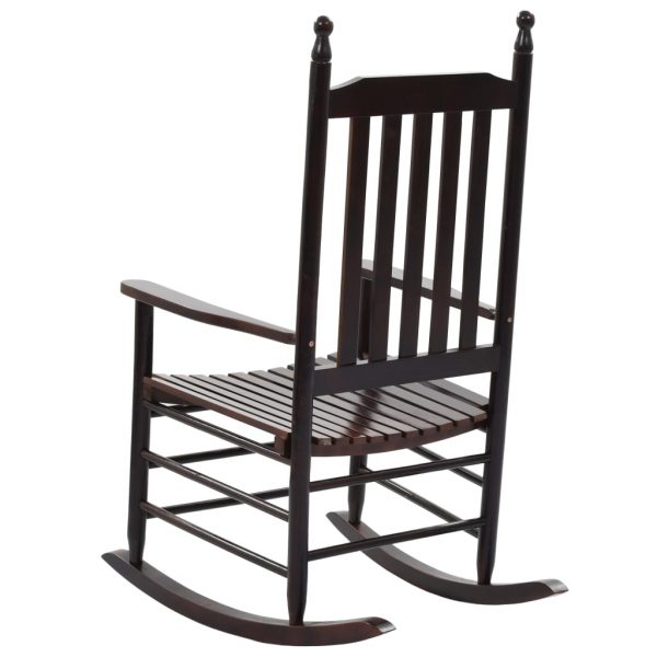 Rocking Chair with Curved Seat Brown Wood 4