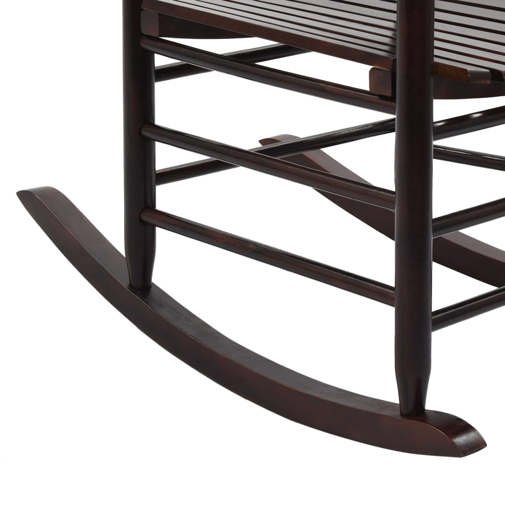 Rocking Chair with Curved Seat Brown Wood 7