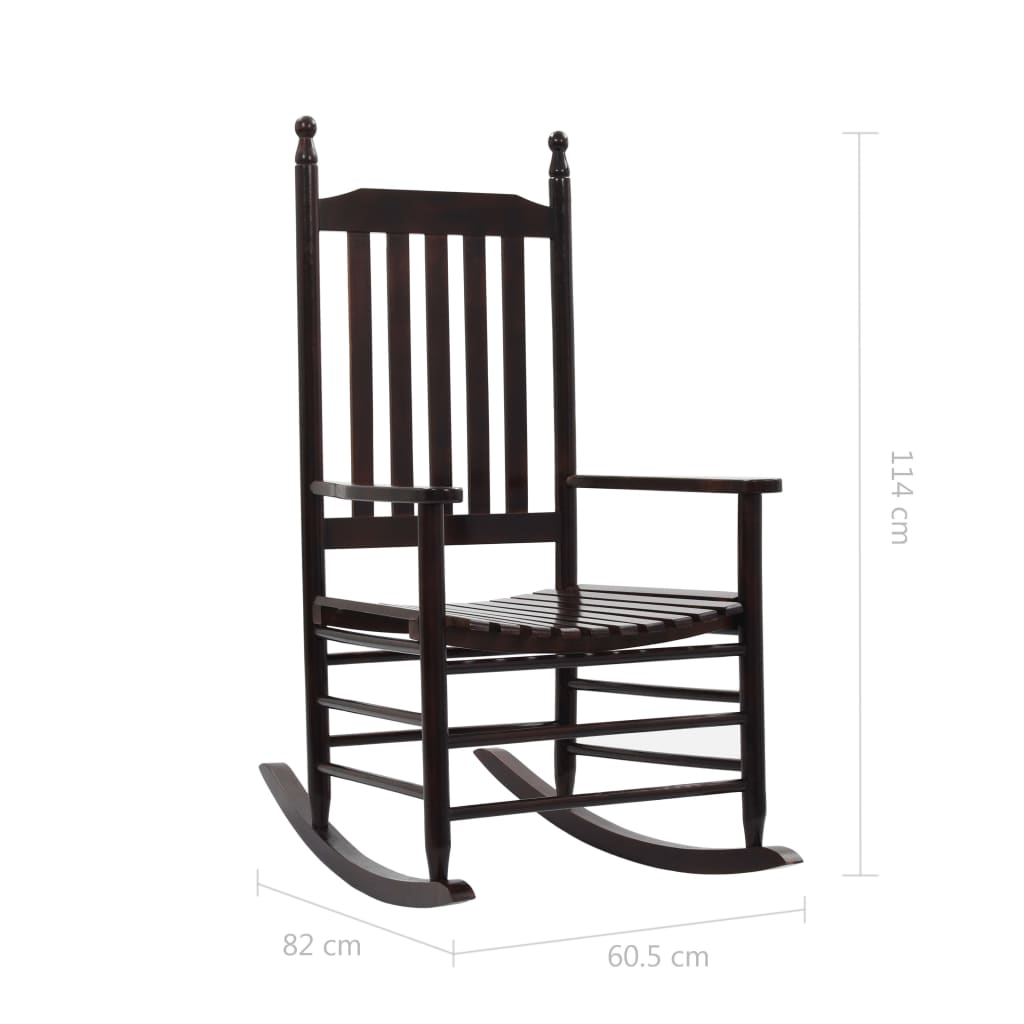 Rocking Chair with Curved Seat Brown Wood 8