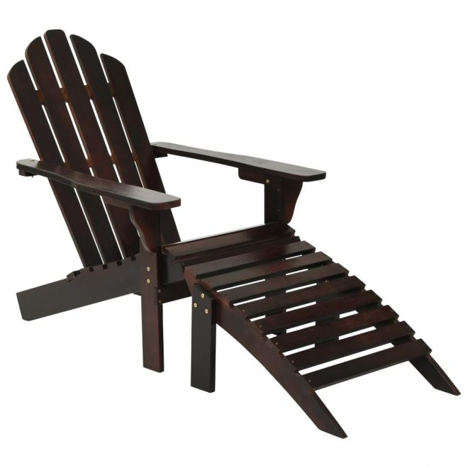 Garden Chair with Ottoman Wood Brown 1