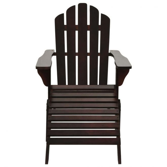 Garden Chair with Ottoman Wood Brown 2