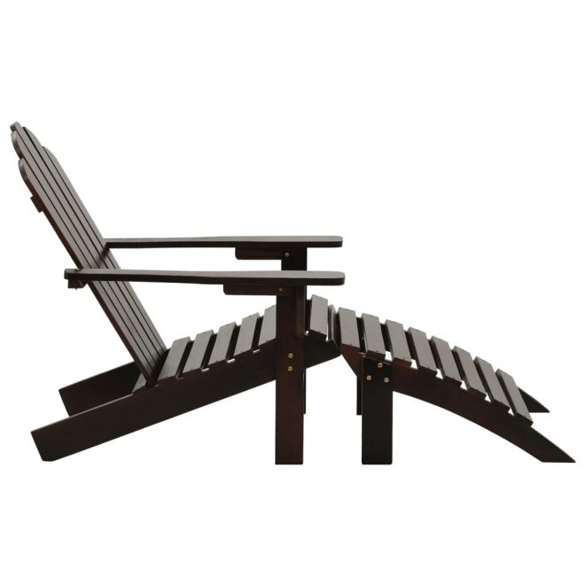 Garden Chair with Ottoman Wood Brown 3