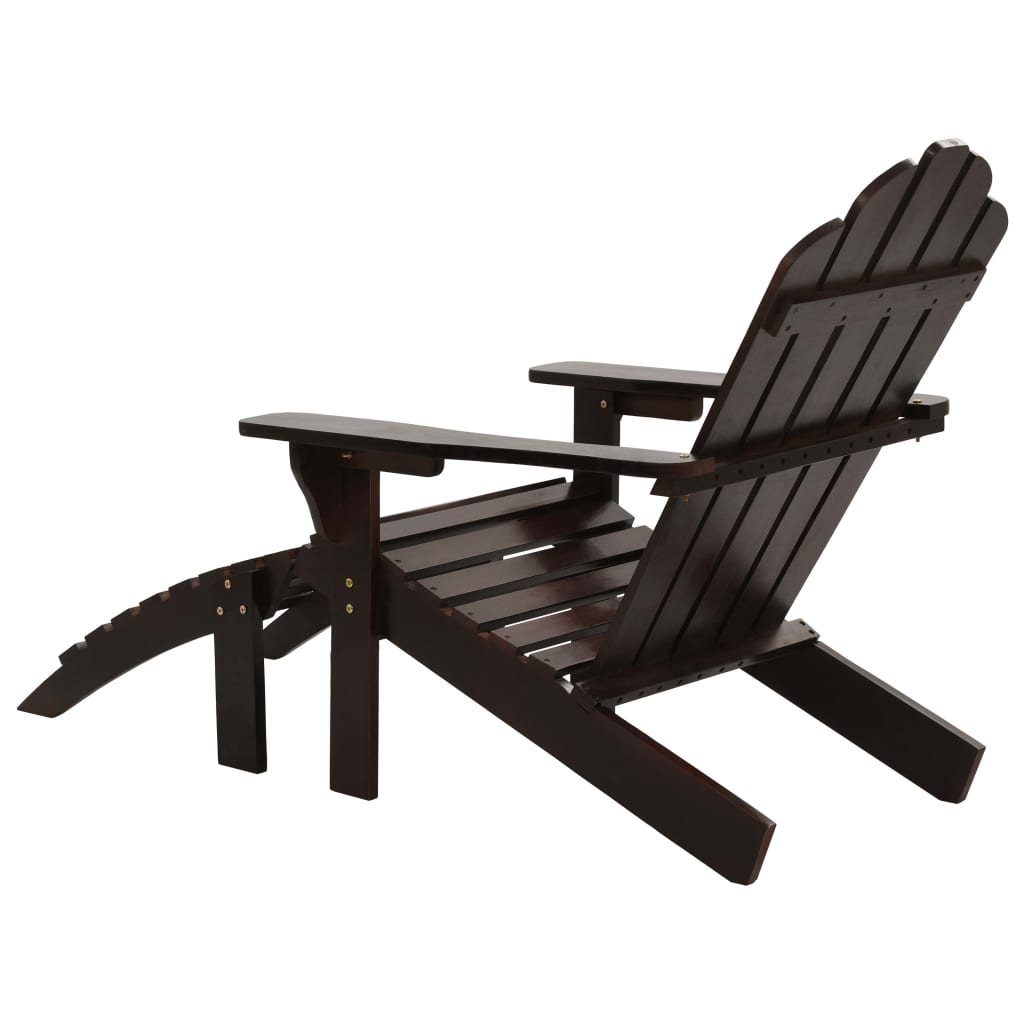 Garden Chair with Ottoman Wood Brown 4