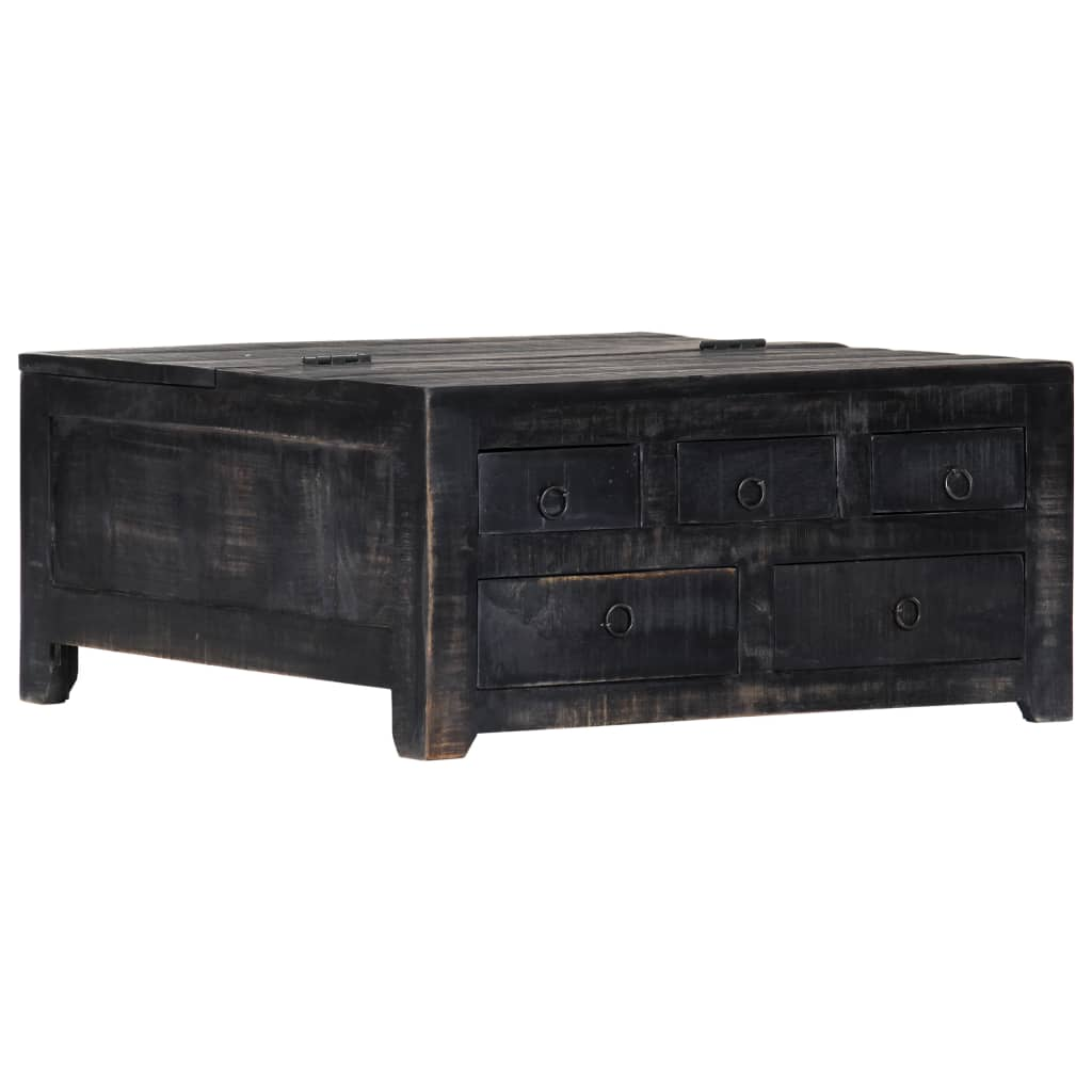 Coffee Table Black 65x65x30 cm Solid Mango Wood 11