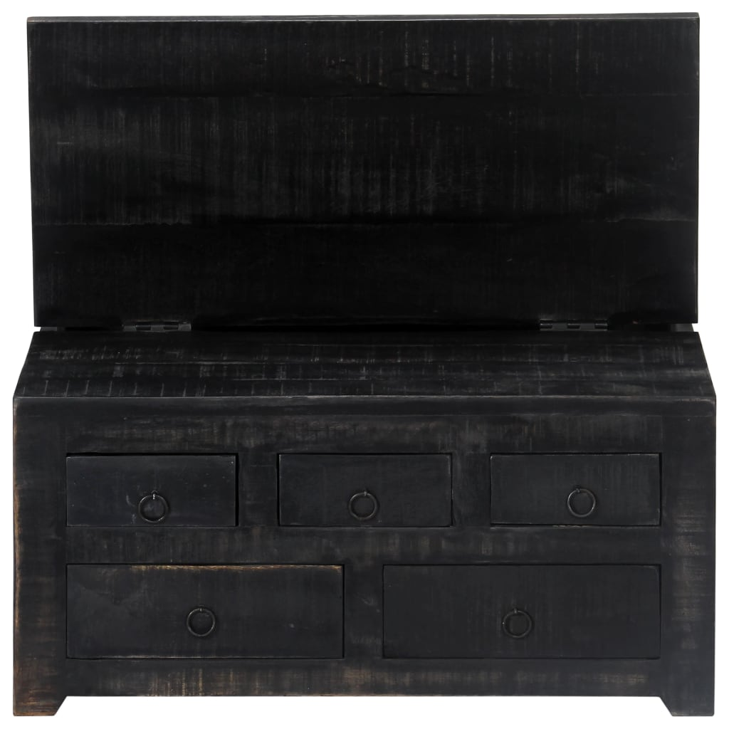 Coffee Table Black 65x65x30 cm Solid Mango Wood 8