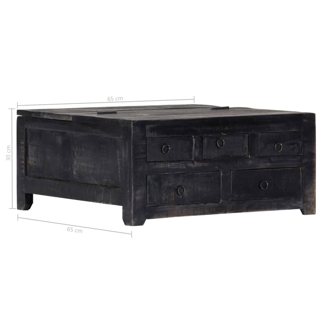 Coffee Table Black 65x65x30 cm Solid Mango Wood 10