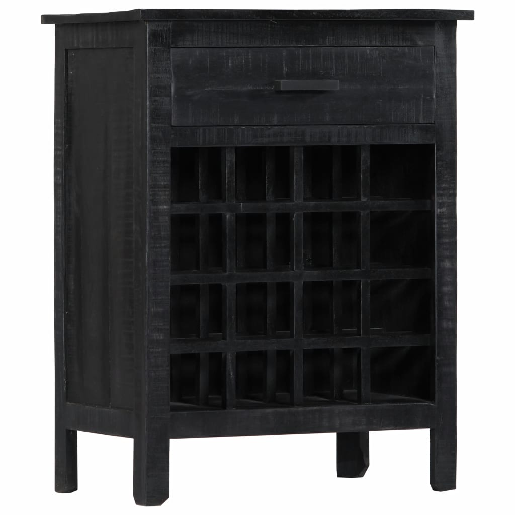 Wine Rack Black 56x35x75 cm Solid Mango Wood