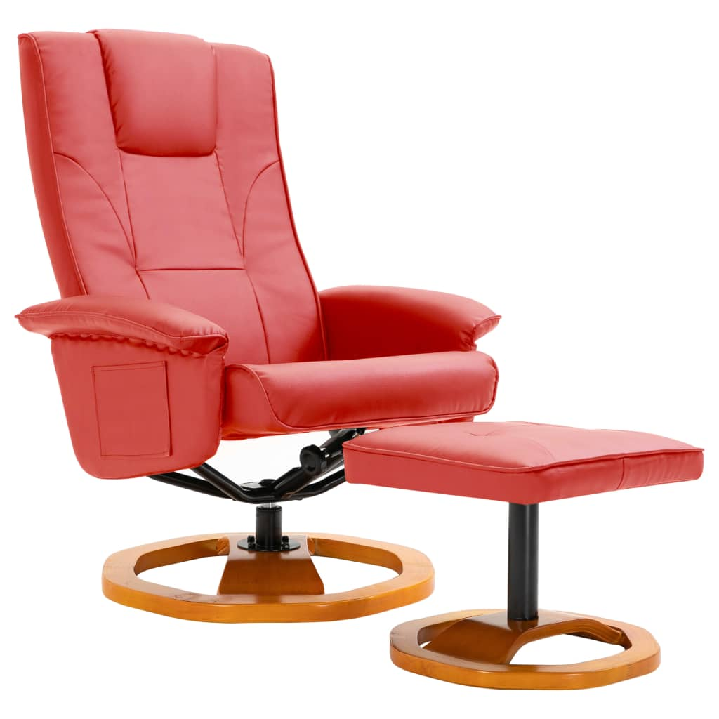 Swivel TV Armchair with Foot Stool Red Faux Leather 2