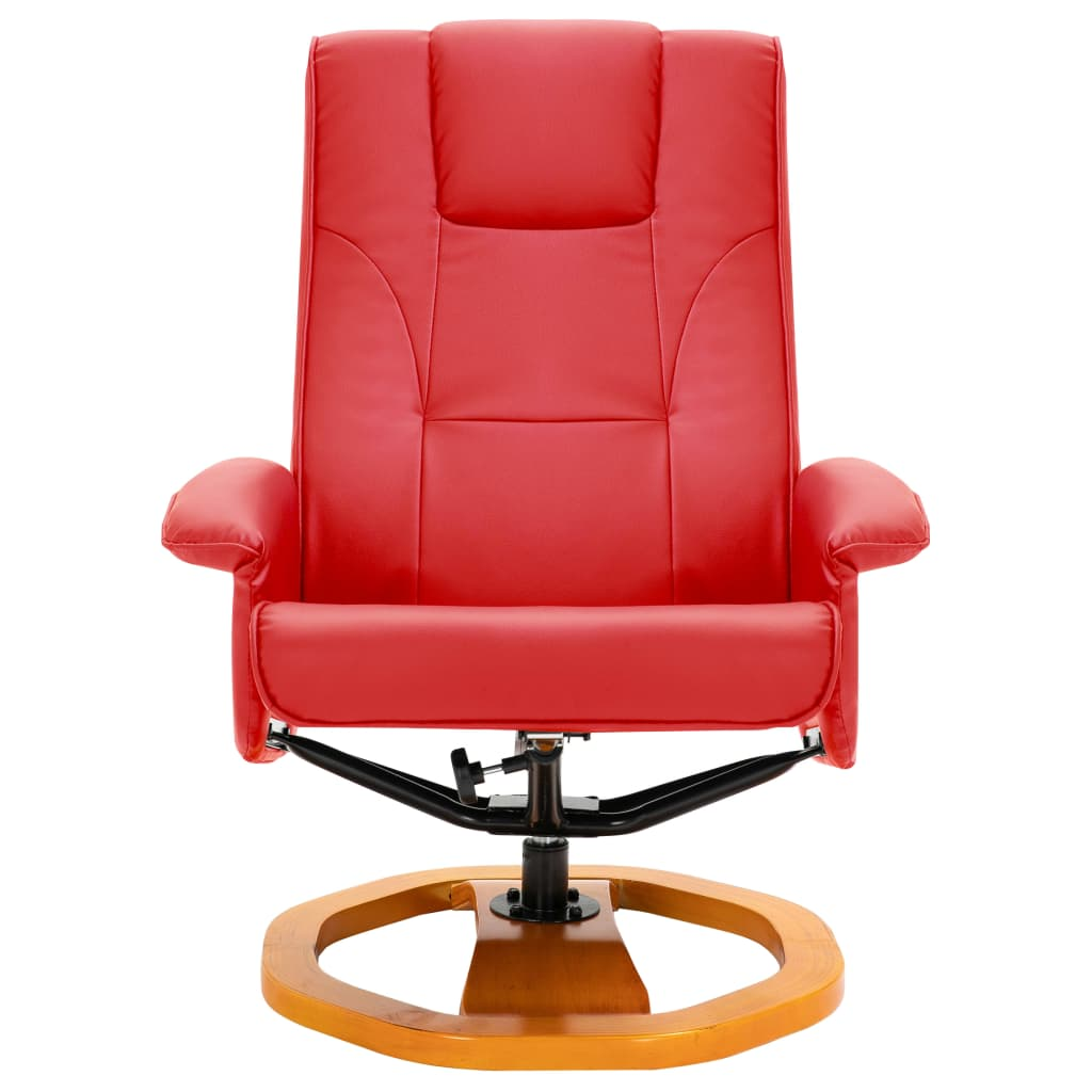 Swivel TV Armchair with Foot Stool Red Faux Leather 4