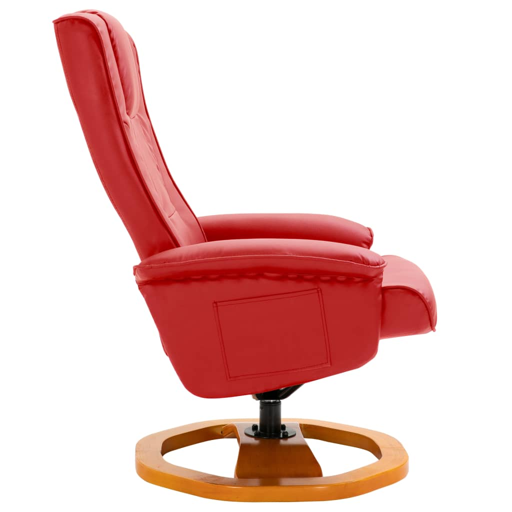 Swivel TV Armchair with Foot Stool Red Faux Leather 5