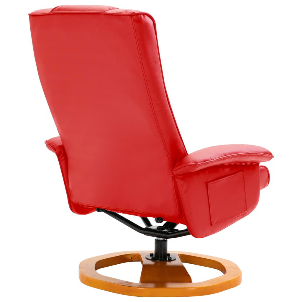 Swivel TV Armchair with Foot Stool Red Faux Leather 6