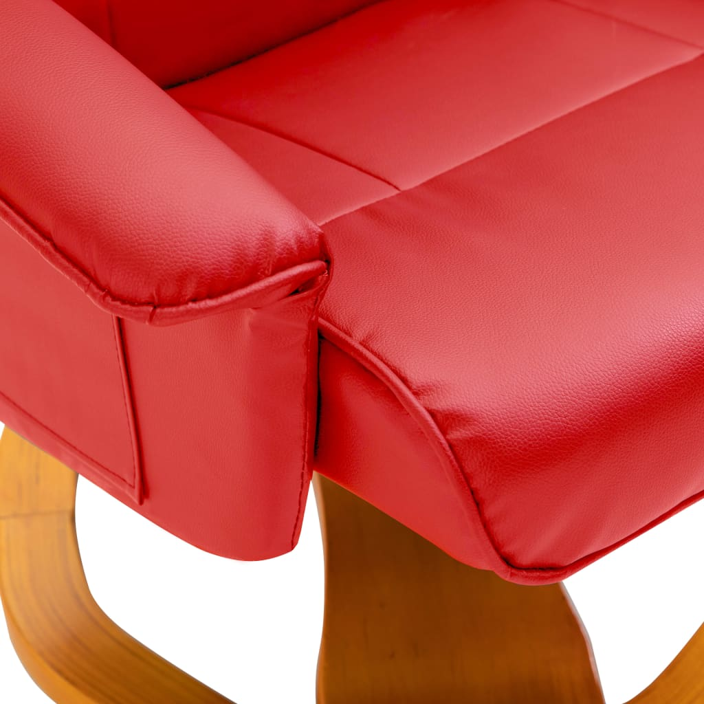 Swivel TV Armchair with Foot Stool Red Faux Leather 8