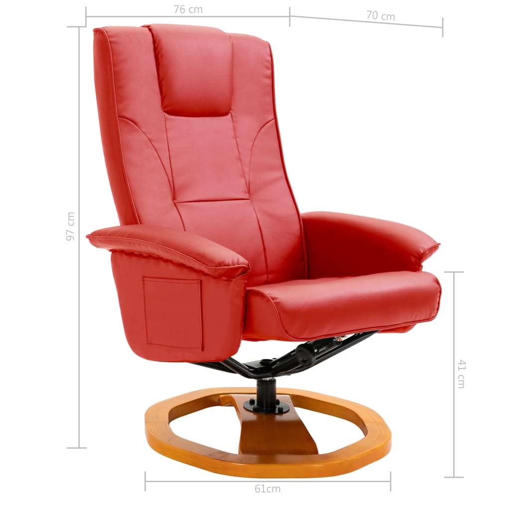 Swivel TV Armchair with Foot Stool Red Faux Leather 9