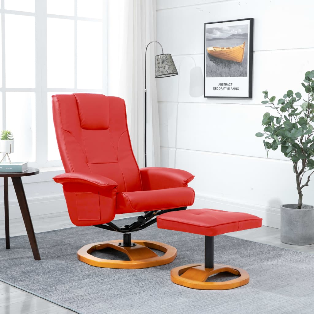 Swivel TV Armchair with Foot Stool Red Faux Leather 1