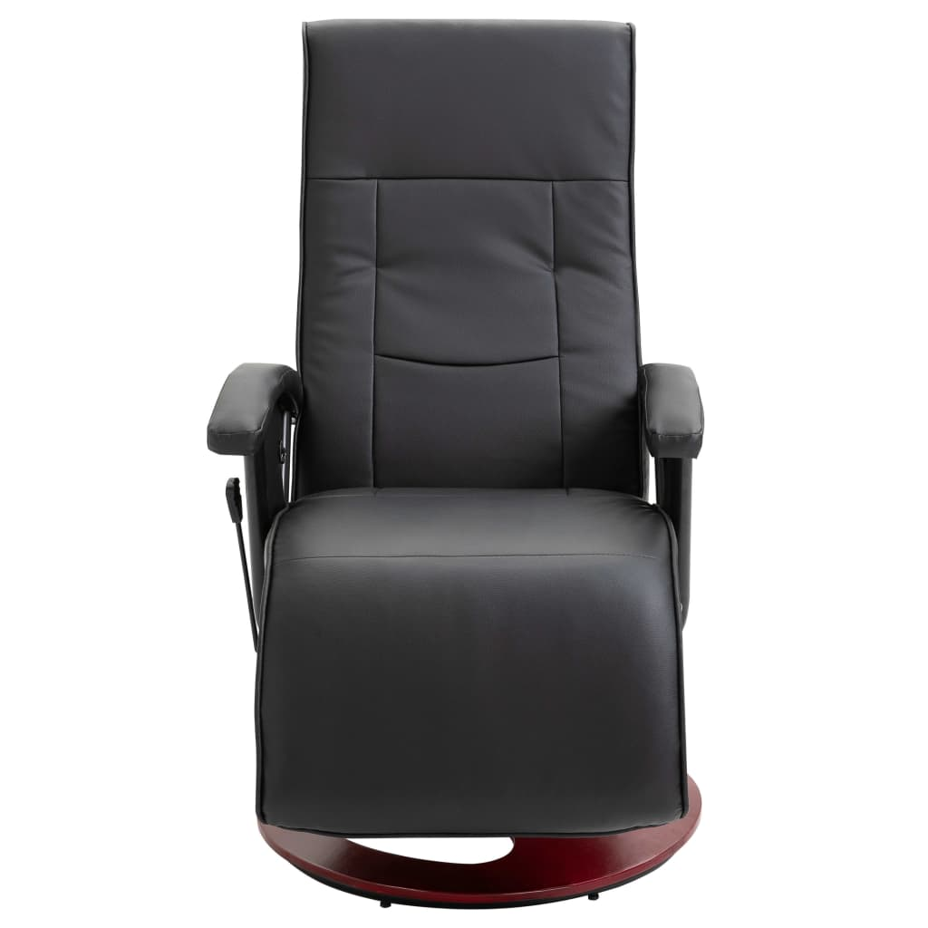 Swivel TV Armchair Black Faux Leather 3
