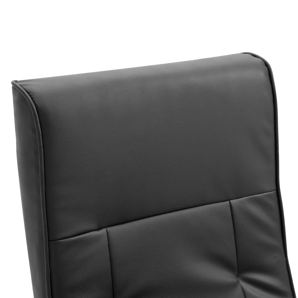 Swivel TV Armchair Black Faux Leather 8