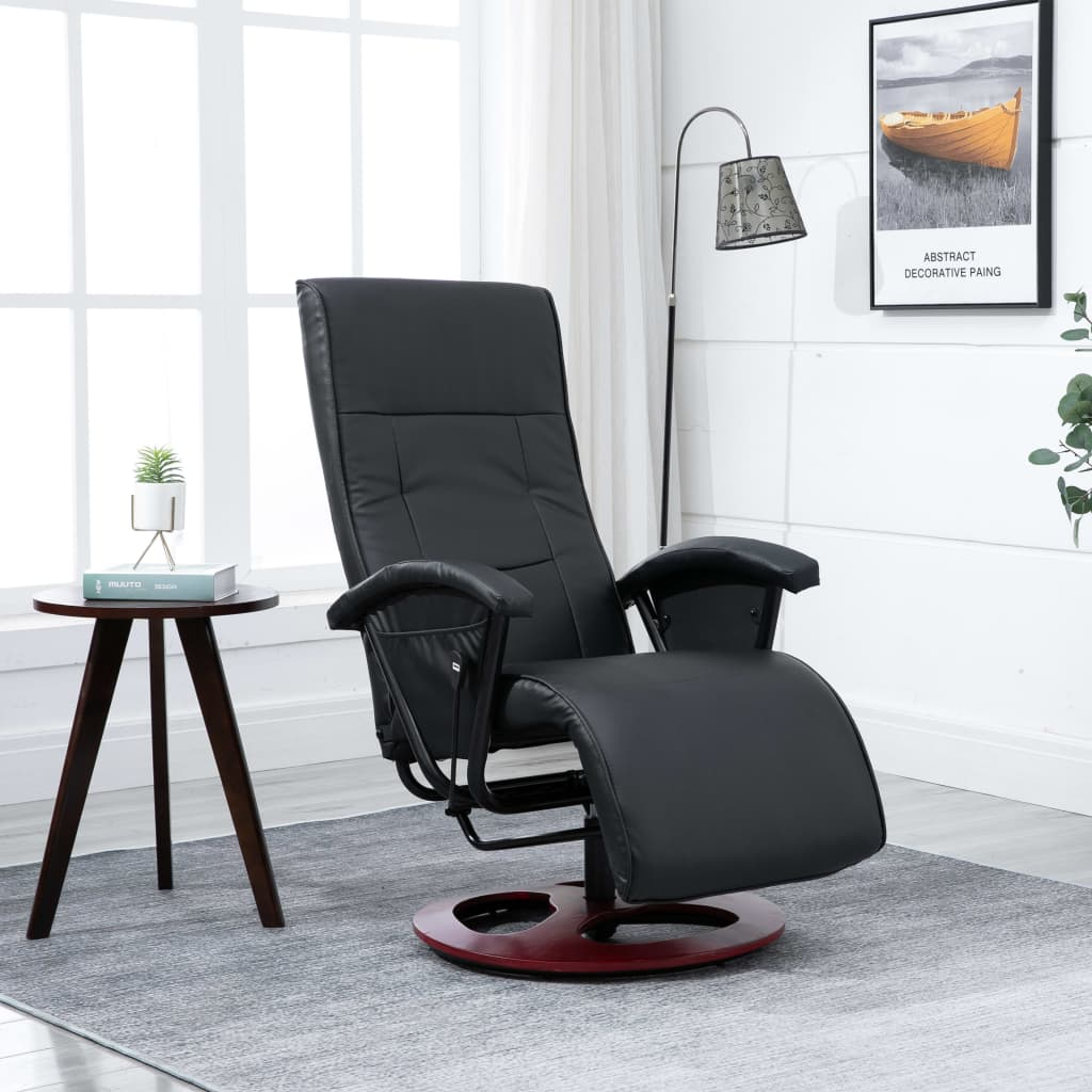Swivel TV Armchair Black Faux Leather 1