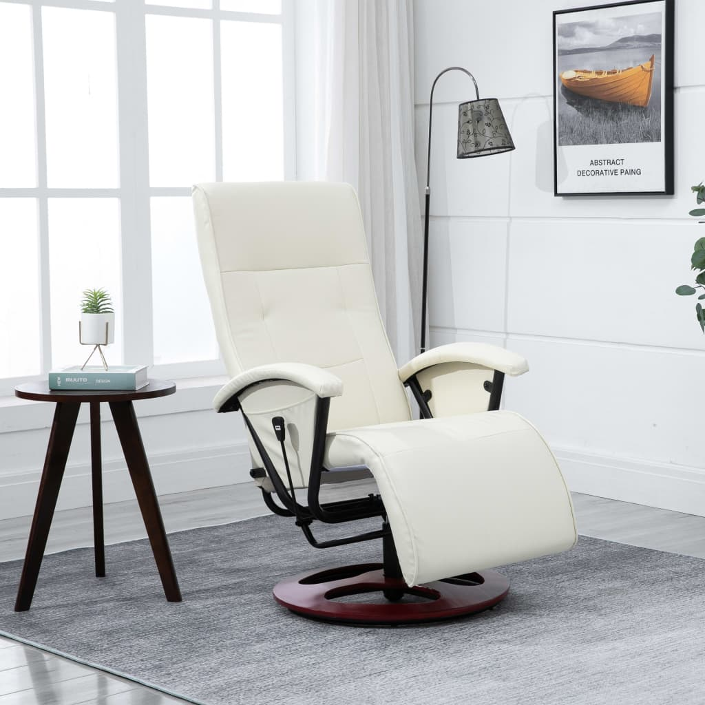 Swivel TV Armchair Cream Faux Leather 1