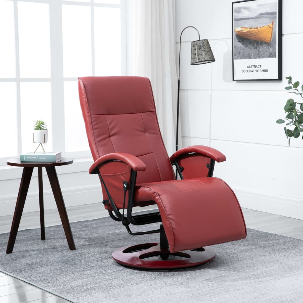 Swivel TV Armchair Wine Red Faux Leather 1