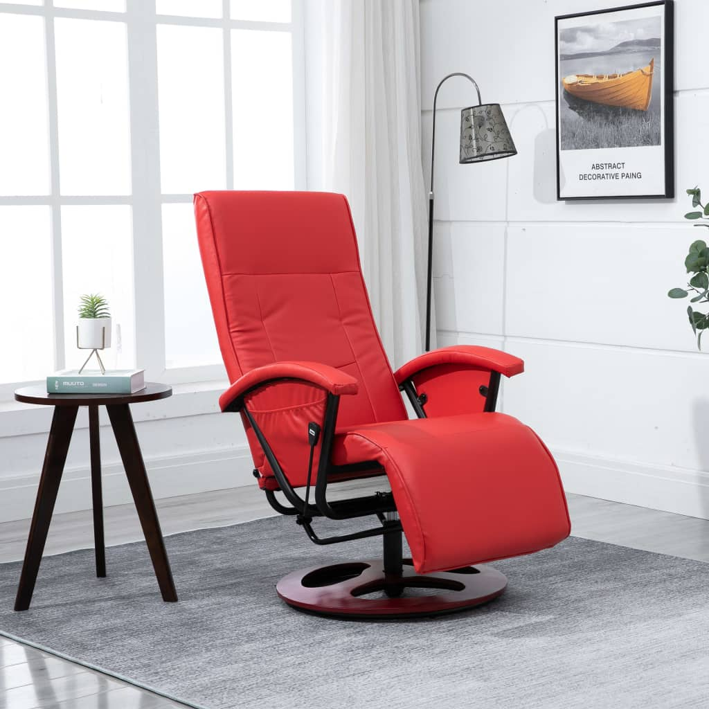 Swivel TV Armchair Red Faux Leather 1