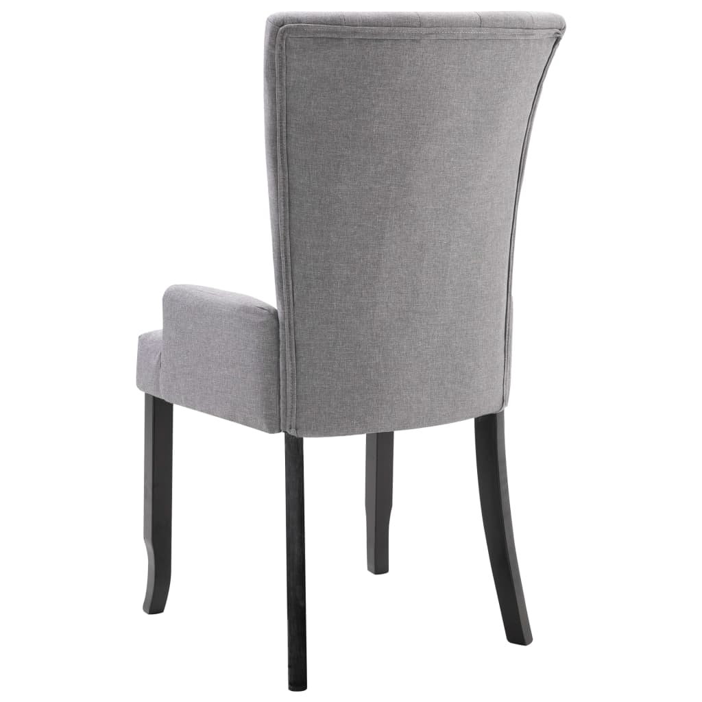Dining Chair with Armrests Light Grey Fabric 5