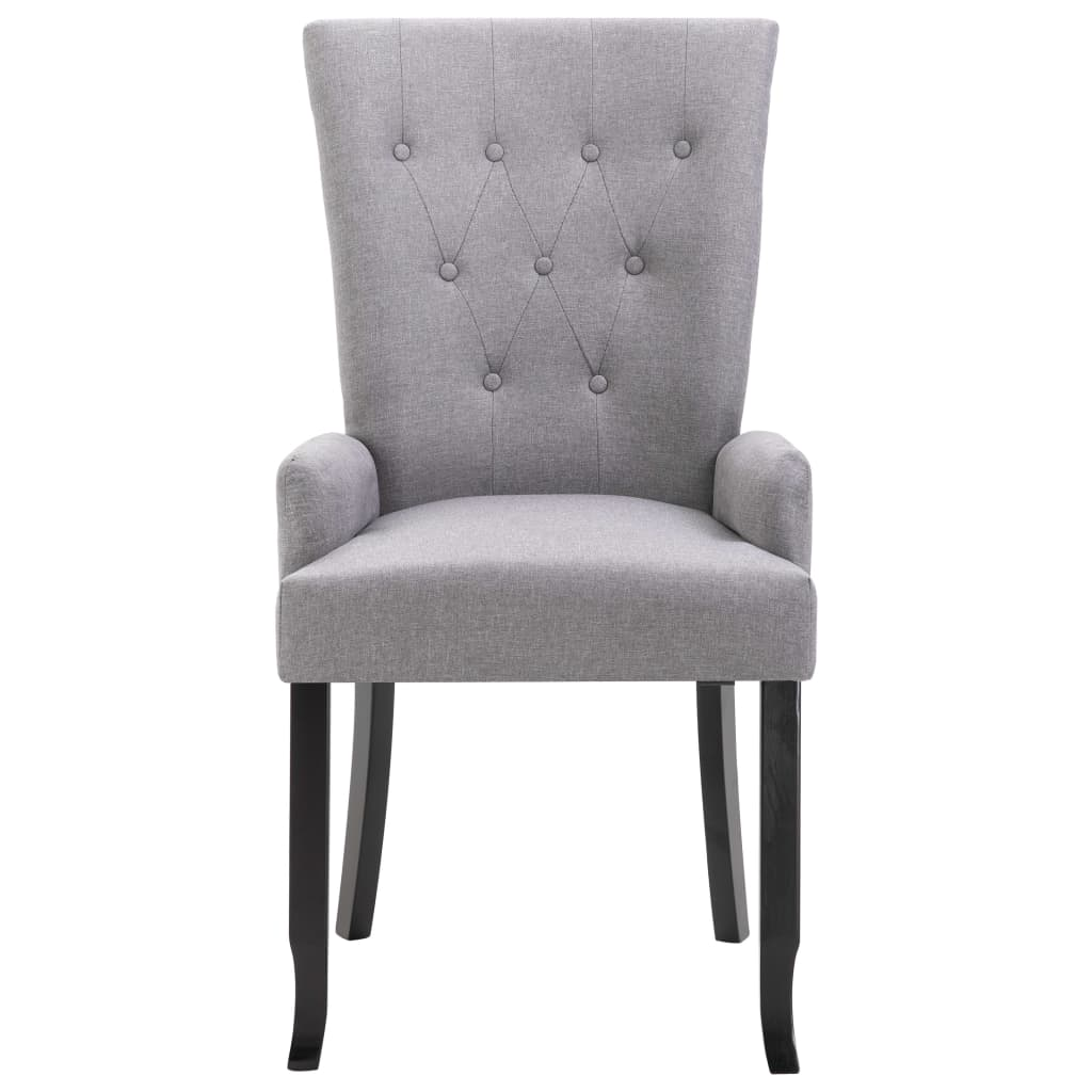 Dining Chair with Armrests Light Grey Fabric 6