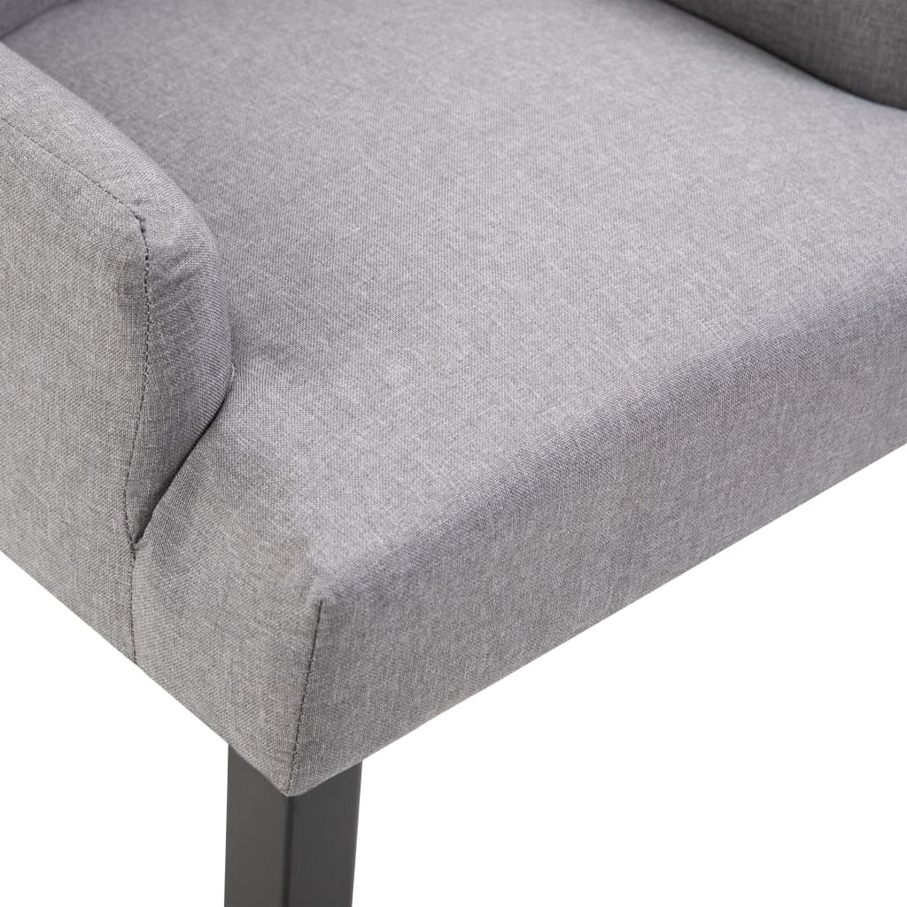 Dining Chair with Armrests Light Grey Fabric 7