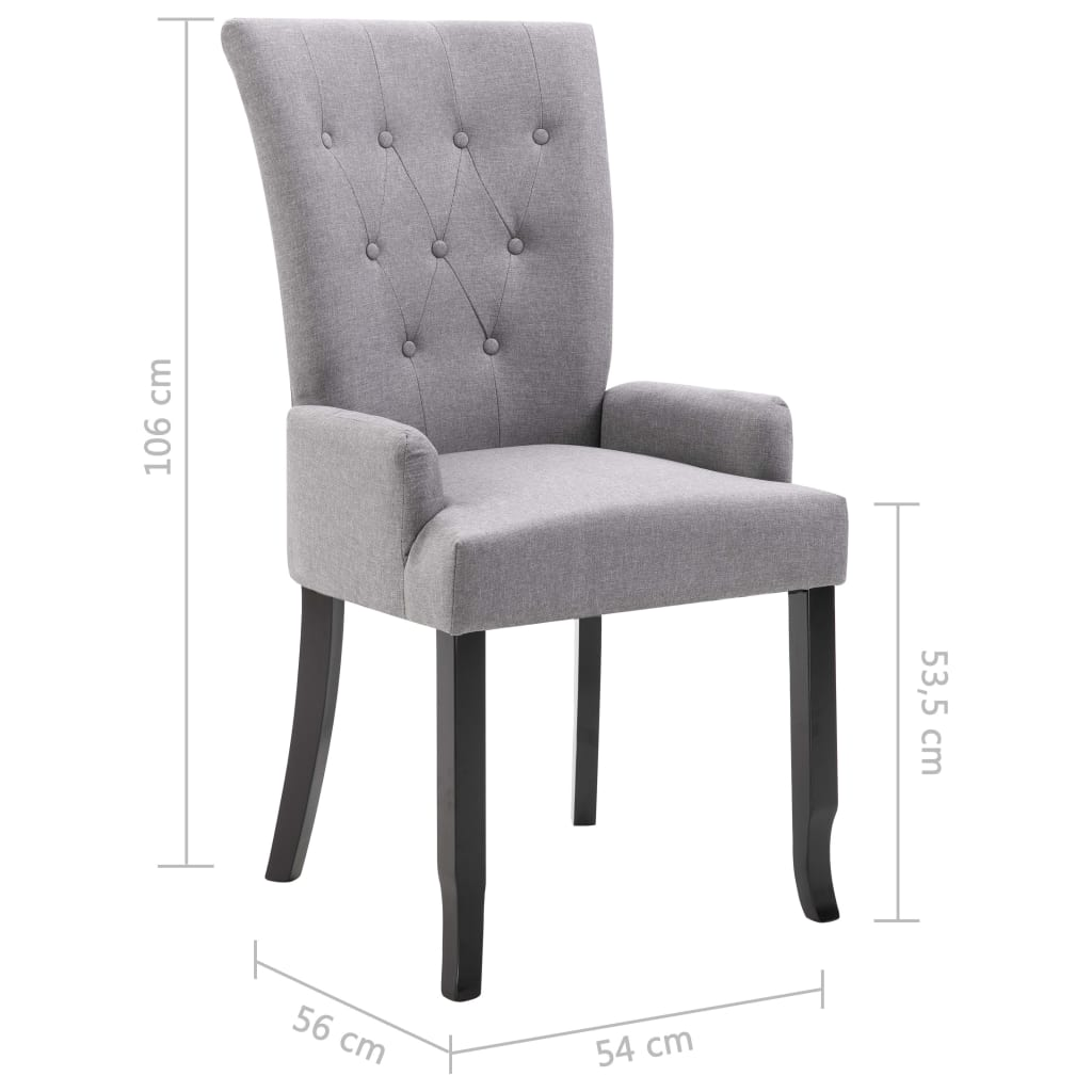 Dining Chair with Armrests Light Grey Fabric 8